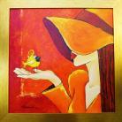 Obrazy dziewczyna,kanarek,obraz,olejny,ptak,kapelusz