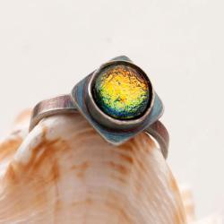 pierścionek,szkło dichroiczne,srebrny,prezent - Pierścionki - Biżuteria