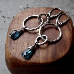 geometryczne,asymetryczne,koła,srebrne,kianit - Kolczyki - Biżuteria