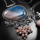 Naszyjniki srebrny,naszyjnik,wire-wrapping,motyl,agat,opal