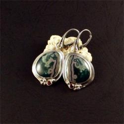 srebrne kolczyki z jaspisem - Kolczyki - Biżuteria