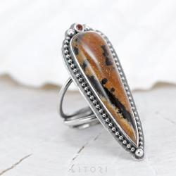 litori,handmade,pierścionek,agat,granat,boho - Pierścionki - Biżuteria