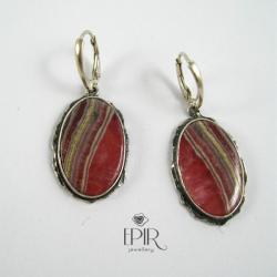 Kolczyki srebrne z rodochrozytami - Kolczyki - Biżuteria