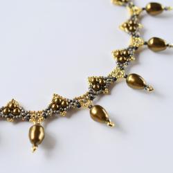 naszyjnik,Swarovski,perły,haft koralikowy - Naszyjniki - Biżuteria