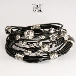 bransoleta,biżuteria srebrna ze skóry - Bransoletki - Biżuteria
