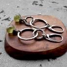 Kolczyki geometryczne,asymetryczne,koła,srebrne,zielone