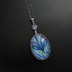 srebrny,wisior,z miniaturą,z motylem - Wisiory - Biżuteria