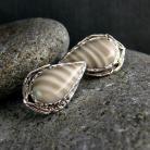 Kolczyki srebro,krzemień pasiasty,kolczyki,sztyfty