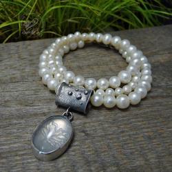 srebrny,perłowy,romantyczny,elegancki - Naszyjniki - Biżuteria
