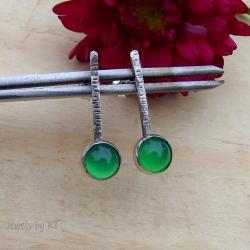 lekkie,sztyfty,delikatne,zielone,agat - Kolczyki - Biżuteria