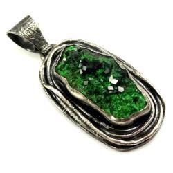 uwarowit,blask,srebrny,srebro,kryształki,zieleń - Wisiory - Biżuteria