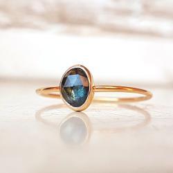 pierścionek,złoto,szafir,rose-cut - Pierścionki - Biżuteria