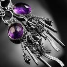 Kolczyki srebrne,kolczyki,wire-wrapping,ametyst,fioletowy