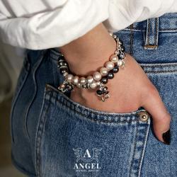 bransoleta z pereł,srebrna biżuteria,komplet - Bransoletki - Biżuteria