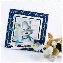 pies,roczek,kartka,guziki,chłopiec,niebieski - Kartki okolicznościowe - Akcesoria
