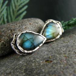 srebro,labradoryt,kolczyki,sztyfty - Kolczyki - Biżuteria