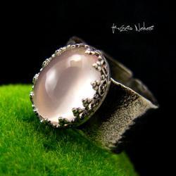 Nehesi,Pierścień,Ze Srebra,obączka,kwarcem rose - Pierścionki - Biżuteria