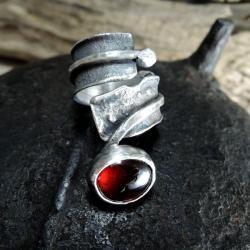 granat,surowy,młotkowany - Pierścionki - Biżuteria