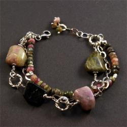 srebrna bransoletka z turmalinem - Bransoletki - Biżuteria