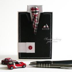 garnitur,krawat,kartka,dla niego,krata - Kartki okolicznościowe - Akcesoria