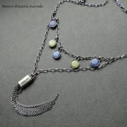 srebro,chita,sodalit,boho,chwost - Naszyjniki - Biżuteria