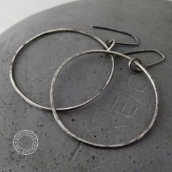 srebro,koła,surowe,oksydowane,duże,minimalizm - Kolczyki - Biżuteria