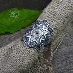 boho,okazały,srebrny,folkowy,bohemian,regulowa - Pierścionki - Biżuteria