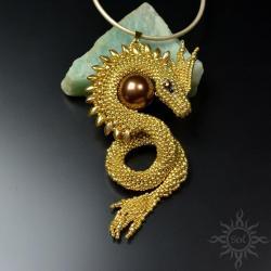 smok,baśniowy,złoty,fantasy,gra o tron,seashell - Wisiory - Biżuteria