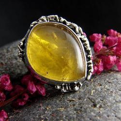 srebro,cytryn,pierścień,regulowany,złoty - Pierścionki - Biżuteria