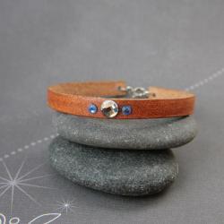 skórzana bransoletka,bransoletka z kryształkami - Bransoletki - Biżuteria
