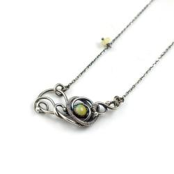 naszyjnik,opal,wire-wrapping,delikatny,misterny - Naszyjniki - Biżuteria