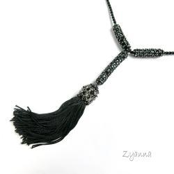 naszyjnik,chwost,boho,czarny - Naszyjniki - Biżuteria
