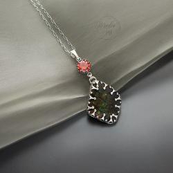 srebrny,naszyjnik,z ammolitem,delikatny - Naszyjniki - Biżuteria
