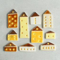 domek,magnes,ceramika - Magnesy na lodówkę - Wyposażenie wnętrz
