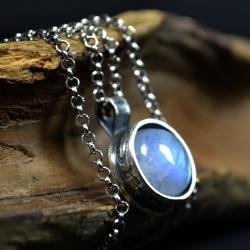 wisior z kamieniem księżycowym,retro naszyjnik - Naszyjniki - Biżuteria