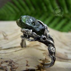 srebrny,organiczny,surowy,zielony,gałązki - Pierścionki - Biżuteria