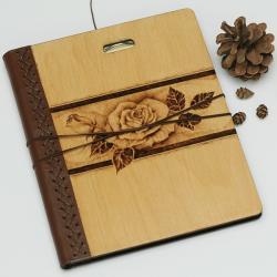 szkicownik,notatnik,pirografia,róża - Notesy - Akcesoria