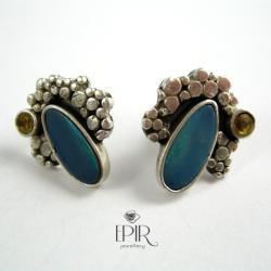 Kolczyki Srebrne Sztyfty z Opalami Australijskimi - Kolczyki - Biżuteria