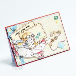 urodziny,kotek,samolot,życzenia - Kartki okolicznościowe - Akcesoria