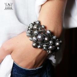 bransoleta z perłami,srebrna bransoleta damska - Bransoletki - Biżuteria