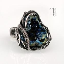 pierścionek srebrny,pierścionek z kwarcem tytanowy - Pierścionki - Biżuteria