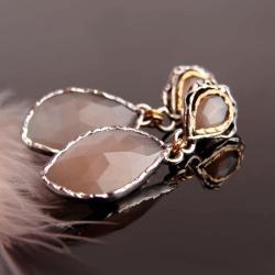 kamień księżycowy,kolczyki,srebro,srebro złocon - Kolczyki - Biżuteria