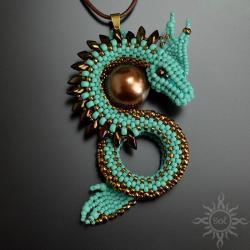 smok,turkusowy,na lato,gra o tron,baśniowy,fantasy - Wisiory - Biżuteria