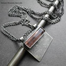 srebro,kwarc,truskawkowy,naszyjnik,surowy - Naszyjniki - Biżuteria