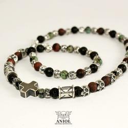 naszyjnik męski,koraliki,biżuteria z czaszkami - Dla mężczyzn - Biżuteria