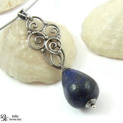 wisiorek,lapis lazuli,srebro,granatowy,elegancki - Wisiory - Biżuteria
