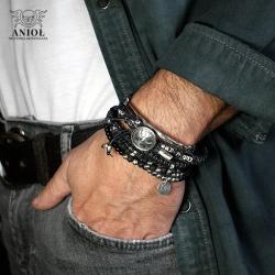 komplet skórzanych bransolet,biżuteria męska - Dla mężczyzn - Biżuteria