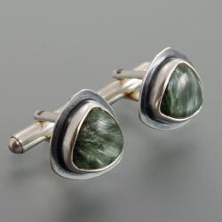 spinki makietowe z serafinitem - Dla mężczyzn - Biżuteria