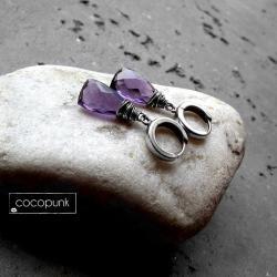 delikatne,srebrnefioletowe,codzienne,surowe - Kolczyki - Biżuteria