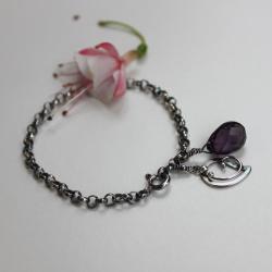 delikatna,fioletowa,srebrna - Bransoletki - Biżuteria